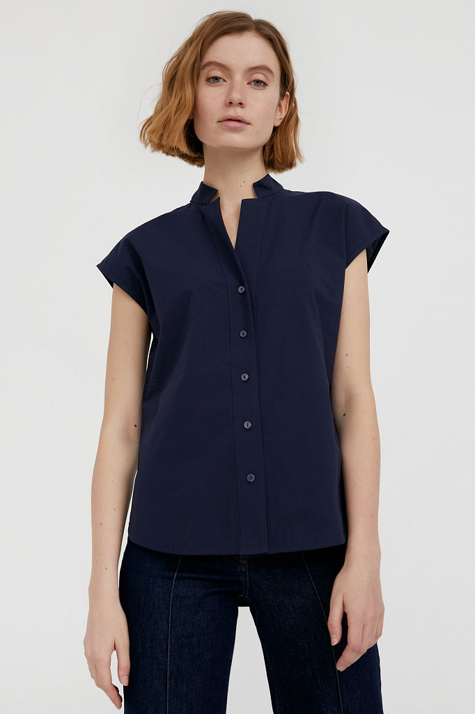 Хлопковая блузка с коротким рукавом, Модель S21-11083, Фото №2