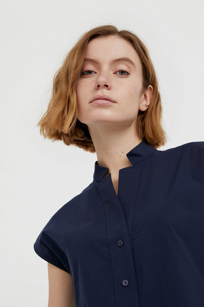 Хлопковая блузка с коротким рукавом, Модель S21-11083, Фото №6