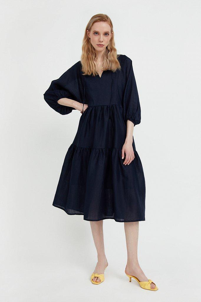 Свободное платье из натуральной ткани рами, Модель S21-11095, Фото №1
