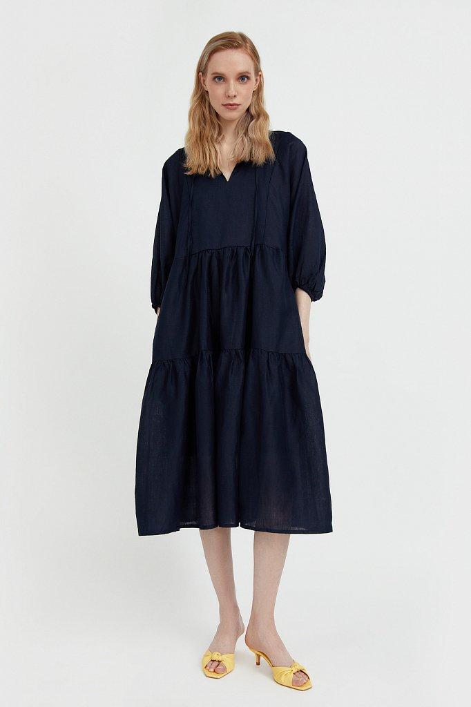 Свободное платье из натуральной ткани рами, Модель S21-11095, Фото №2