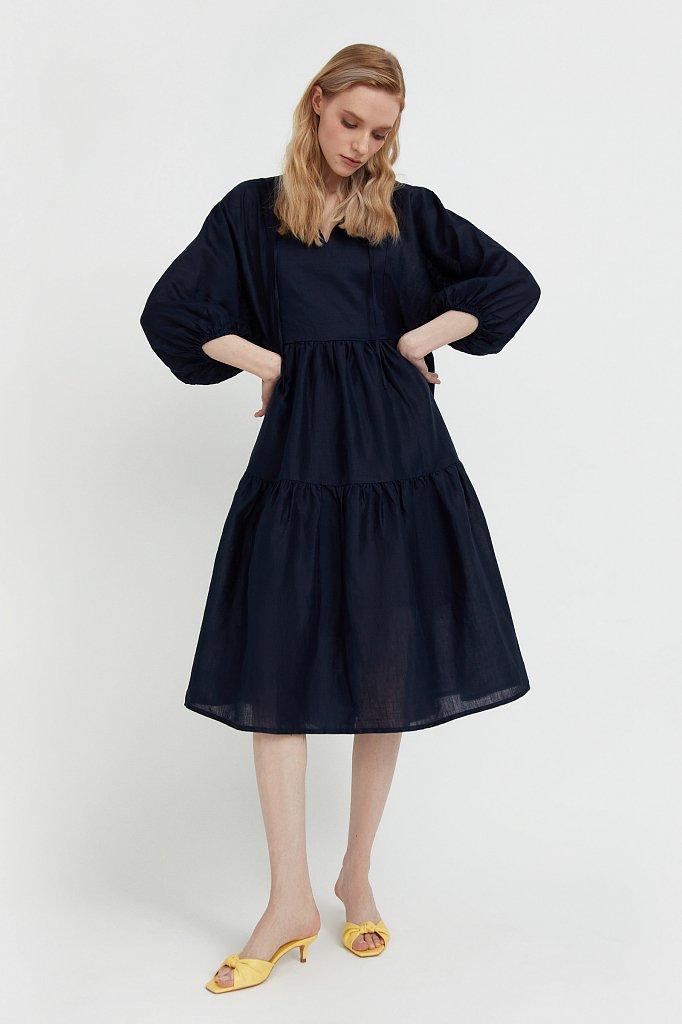 Свободное платье из натуральной ткани рами, Модель S21-11095, Фото №3