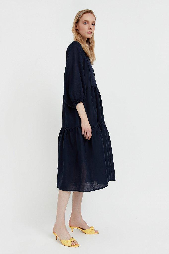 Свободное платье из натуральной ткани рами, Модель S21-11095, Фото №4