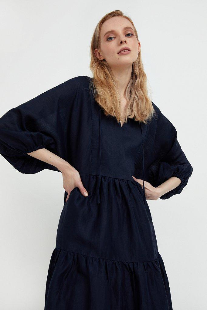 Свободное платье из натуральной ткани рами, Модель S21-11095, Фото №7