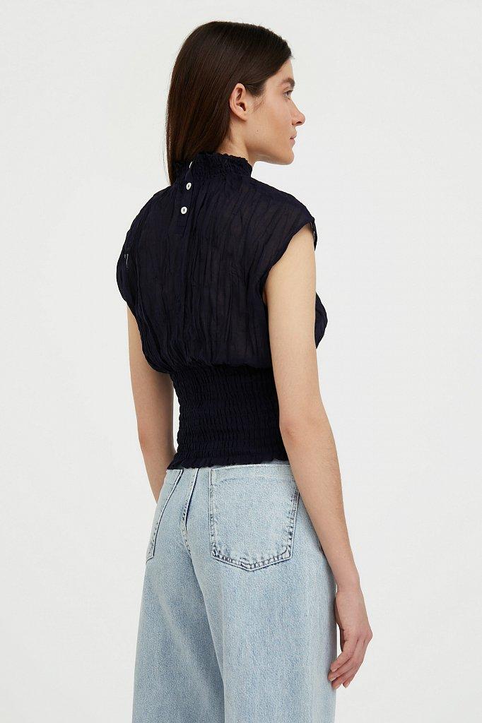 Блуза из жатого хлопка, Модель S21-11099, Фото №4