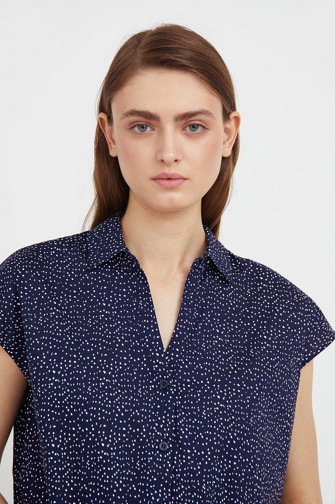 Хлопковая блузка с пестрым принтом, Модель S21-12042, Фото №6
