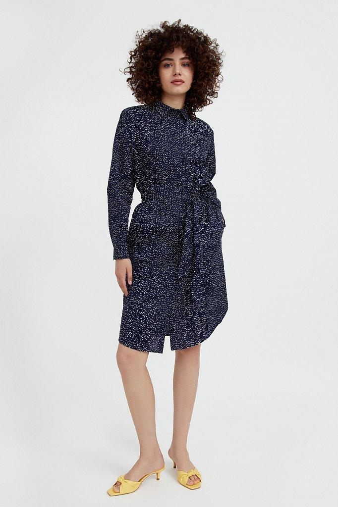 Хлопковое платье-рубашка с принтом, Модель S21-12043, Фото №2
