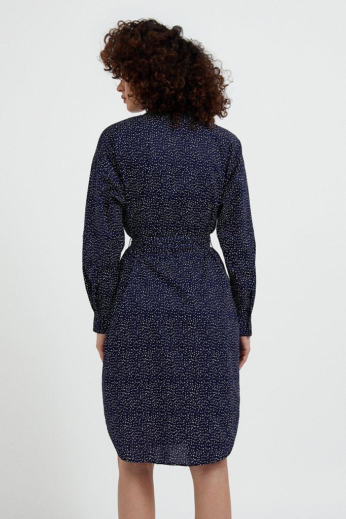 Хлопковое платье-рубашка с принтом, Модель S21-12043, Фото №4