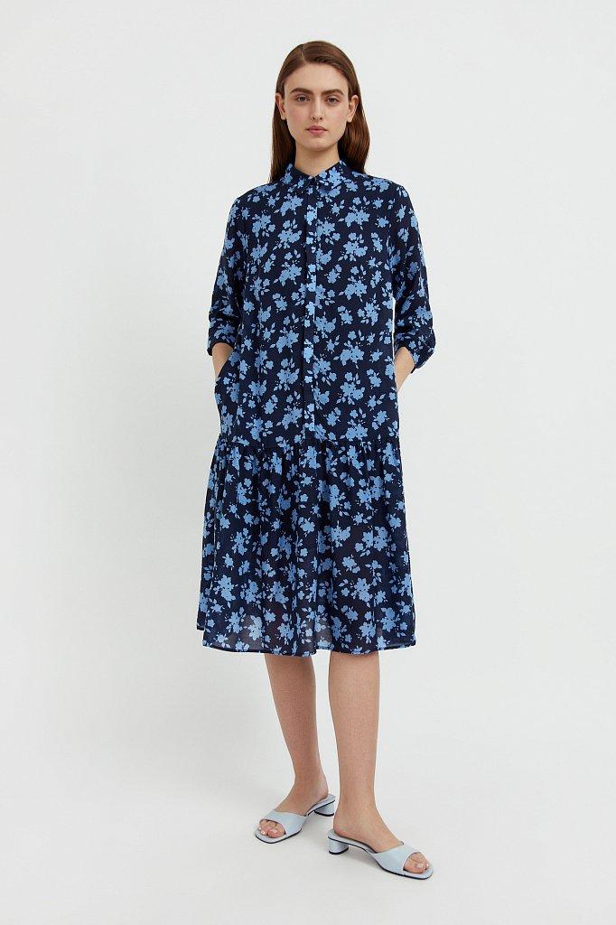 Свободное платье с цветочным принтом, Модель S21-12096, Фото №2
