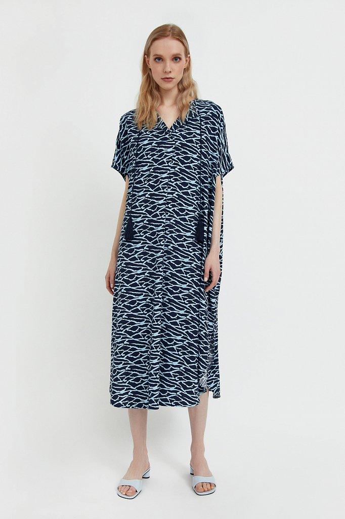 Свободное платье с принтом и завязками, Модель S21-14000, Фото №1