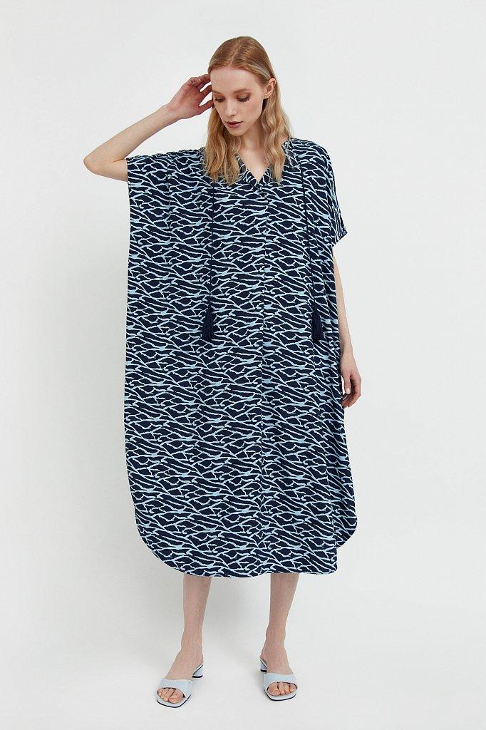 Свободное платье с принтом и завязками, Модель S21-14000, Фото №2