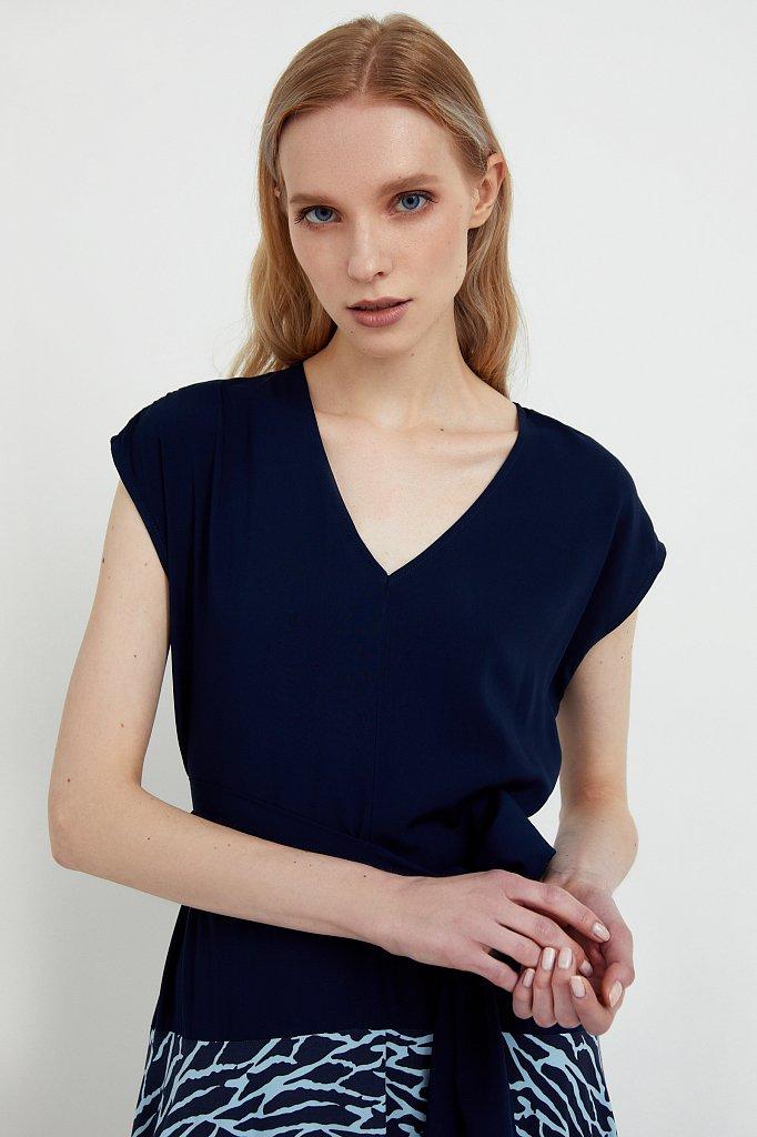 Комбинированное платье из вискозы, Модель S21-14003, Фото №6