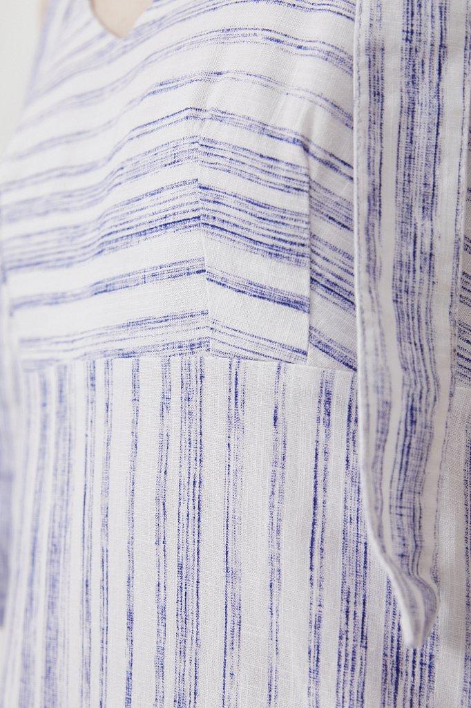 Полосатое платье из льна и хлопка, Модель S21-14034, Фото №5