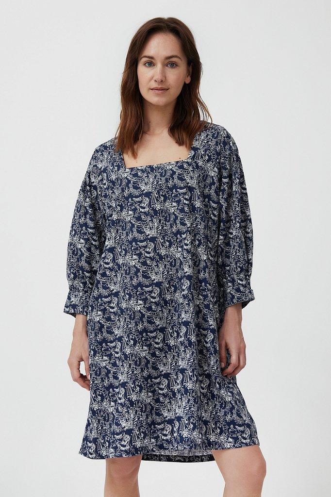 Хлопковое платье с поясом, Модель S21-14044, Фото №1