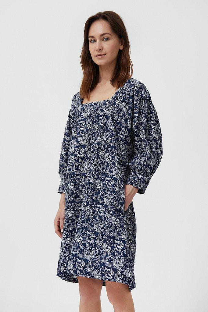 Хлопковое платье с поясом, Модель S21-14044, Фото №3