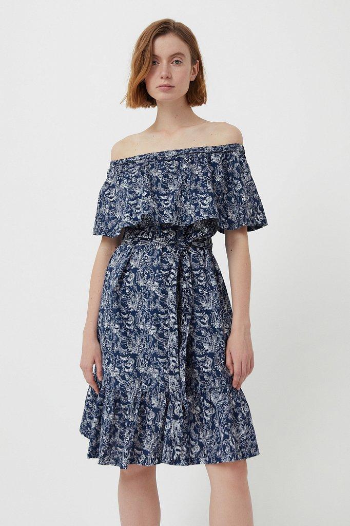Хлопковое платье с открытыми плечами, Модель S21-14045, Фото №1