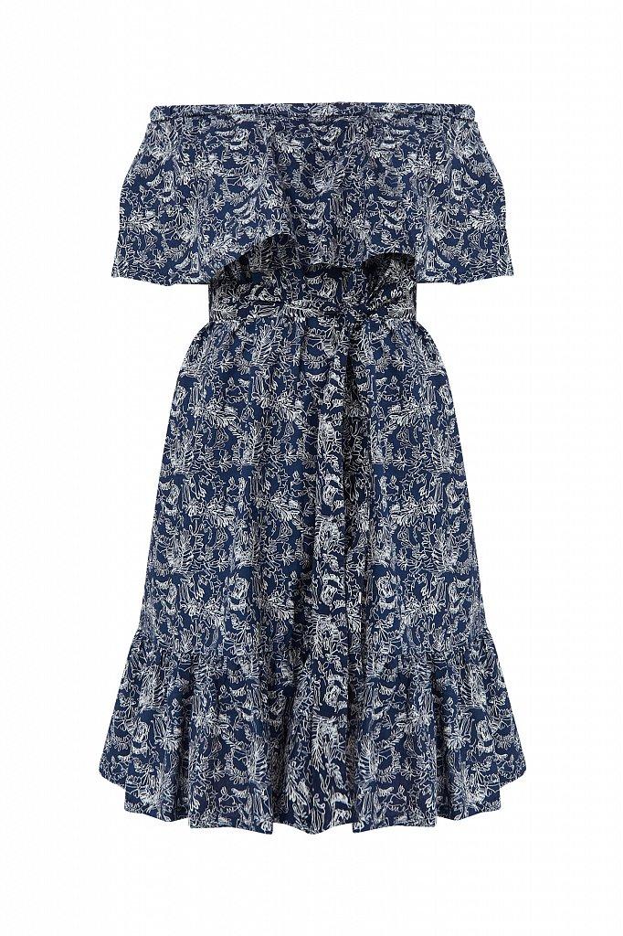 Хлопковое платье с открытыми плечами, Модель S21-14045, Фото №7