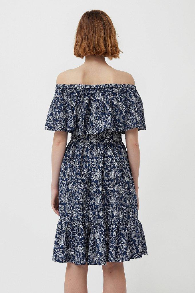 Хлопковое платье с открытыми плечами, Модель S21-14045, Фото №4