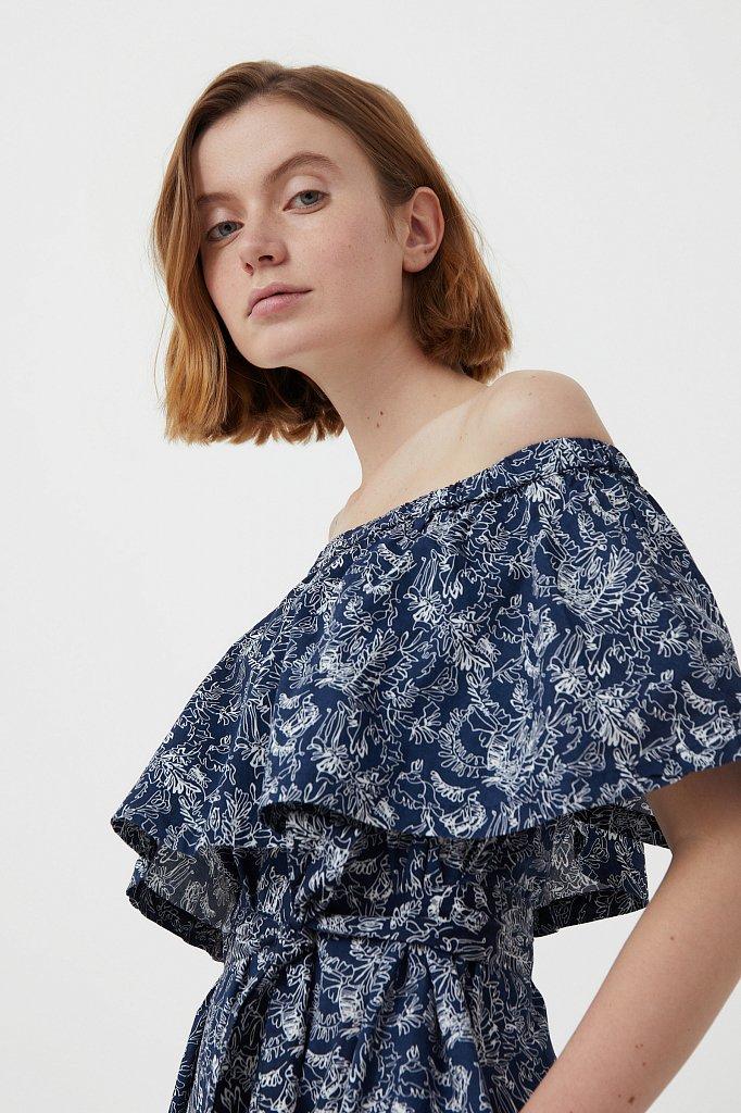 Хлопковое платье с открытыми плечами, Модель S21-14045, Фото №6