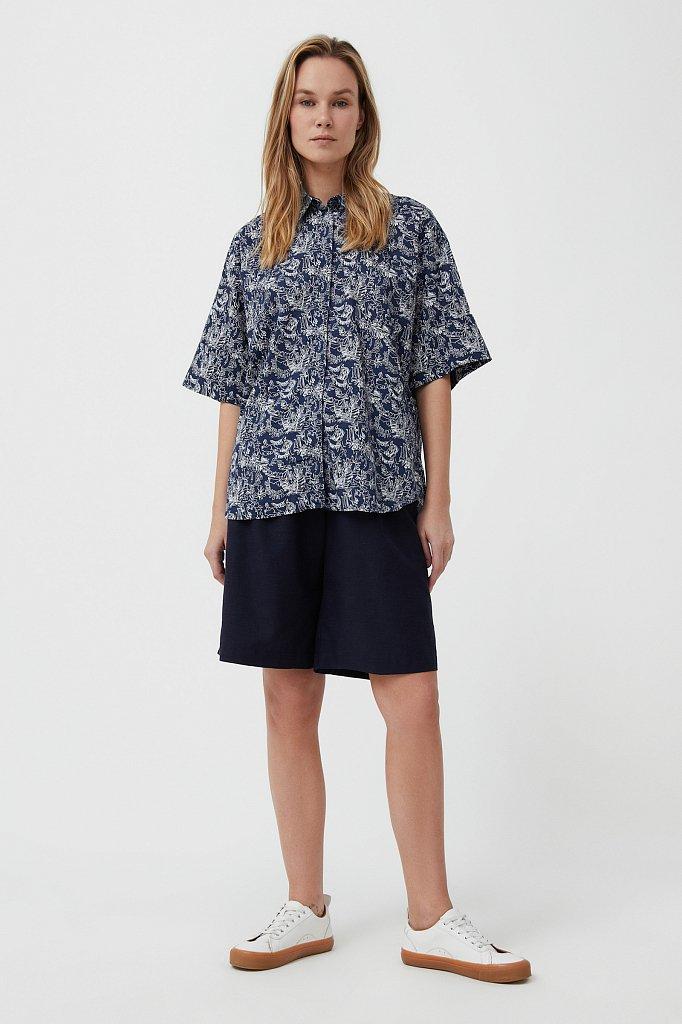 Хлопковая блуза с принтом, Модель S21-14046, Фото №2