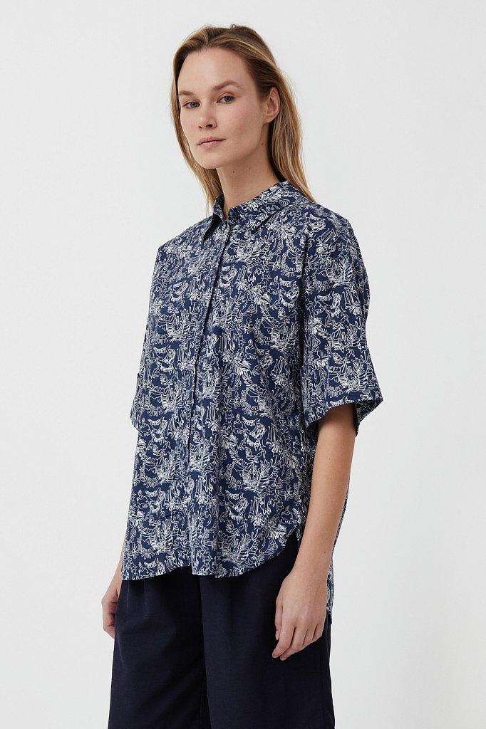Хлопковая блуза с принтом, Модель S21-14046, Фото №3