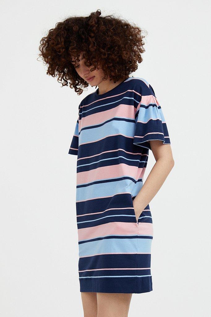 Хлопковое платье в полоску, Модель S21-14052, Фото №3