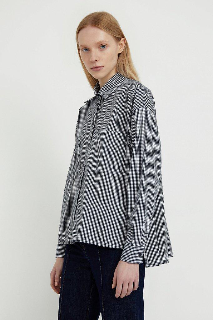 Хлопковая рубашка в клетку, Модель S21-14053, Фото №1