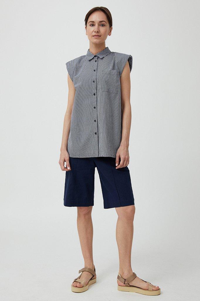 Хлопковая блузка с подплечниками, Модель S21-14055, Фото №2