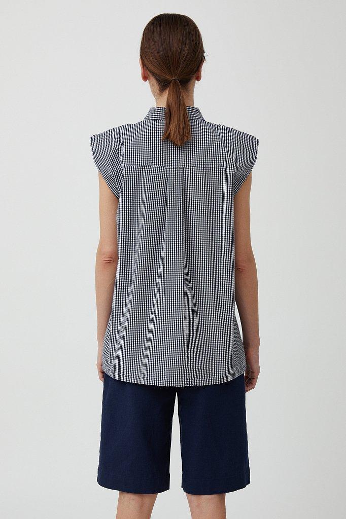 Хлопковая блузка с подплечниками, Модель S21-14055, Фото №4