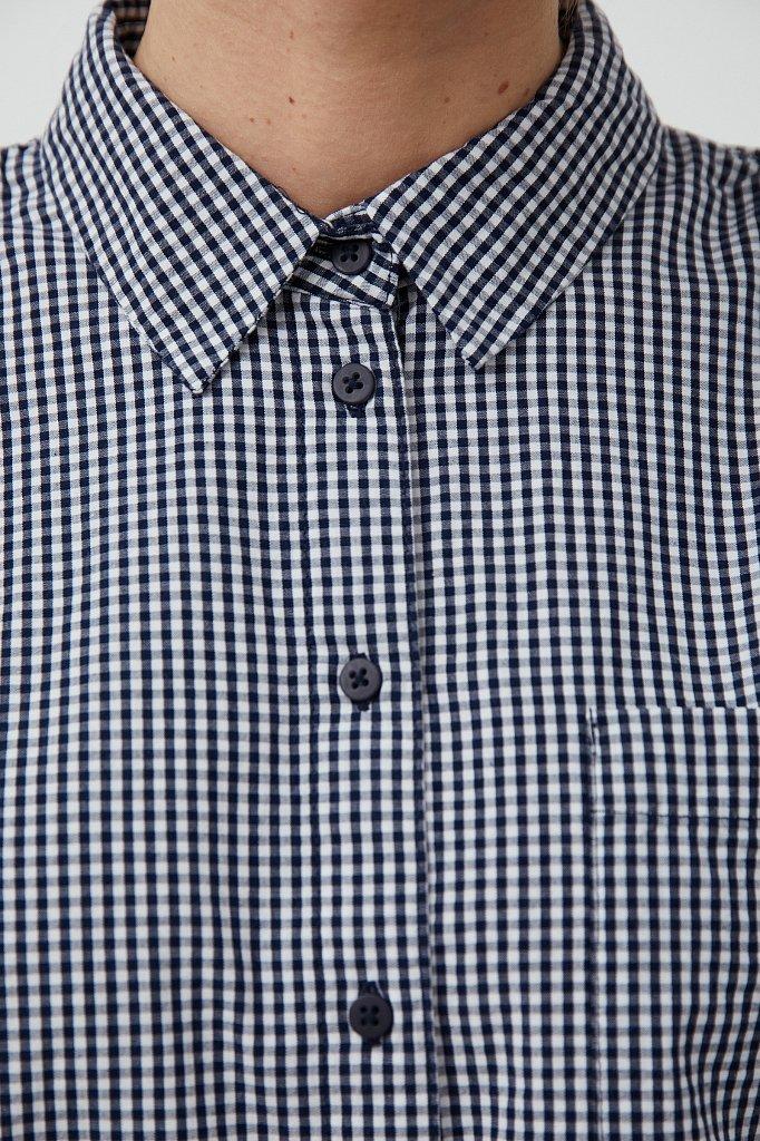Хлопковая блузка с подплечниками, Модель S21-14055, Фото №6