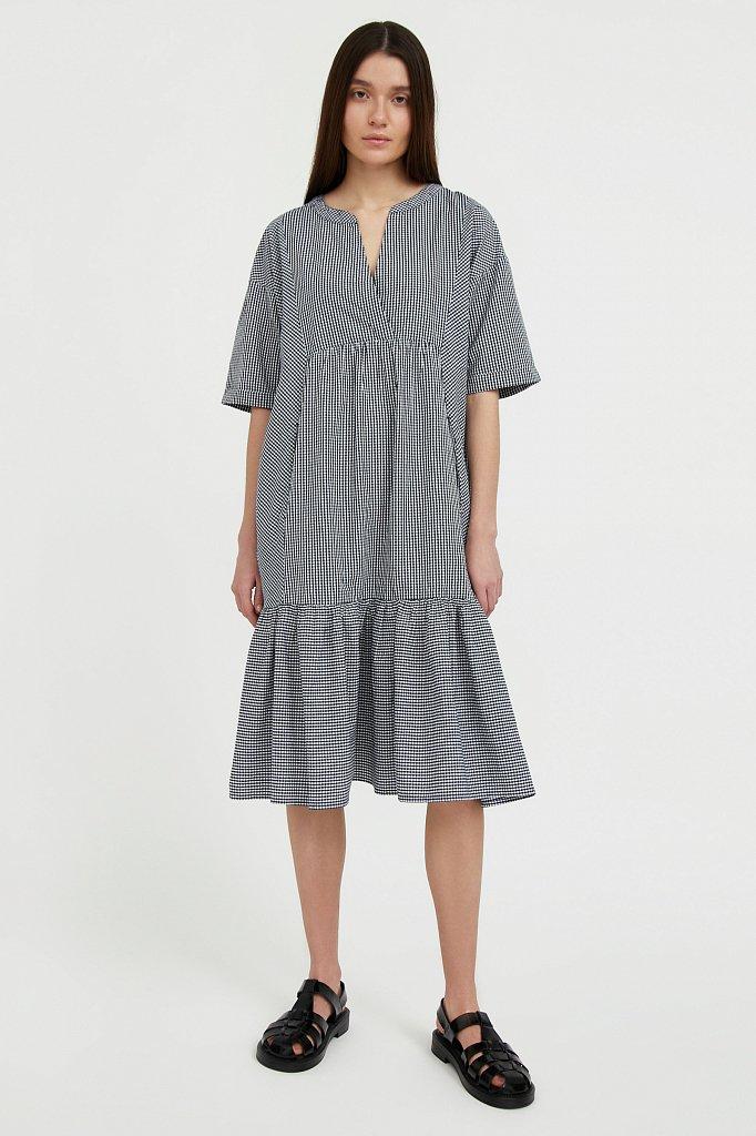 Свободное платье в клетку, Модель S21-14056, Фото №2