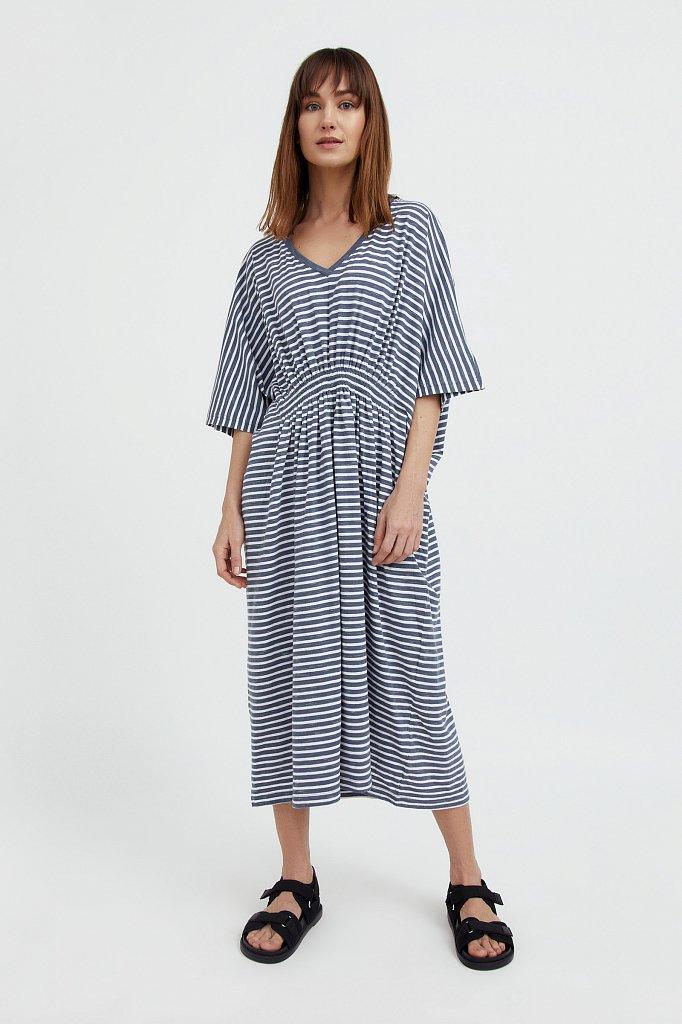 Полосатое платье с драпировкой, Модель S21-14072, Фото №2