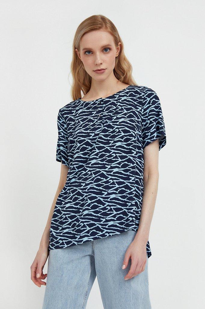 Свободная футболка с принтом, Модель S21-14075, Фото №1
