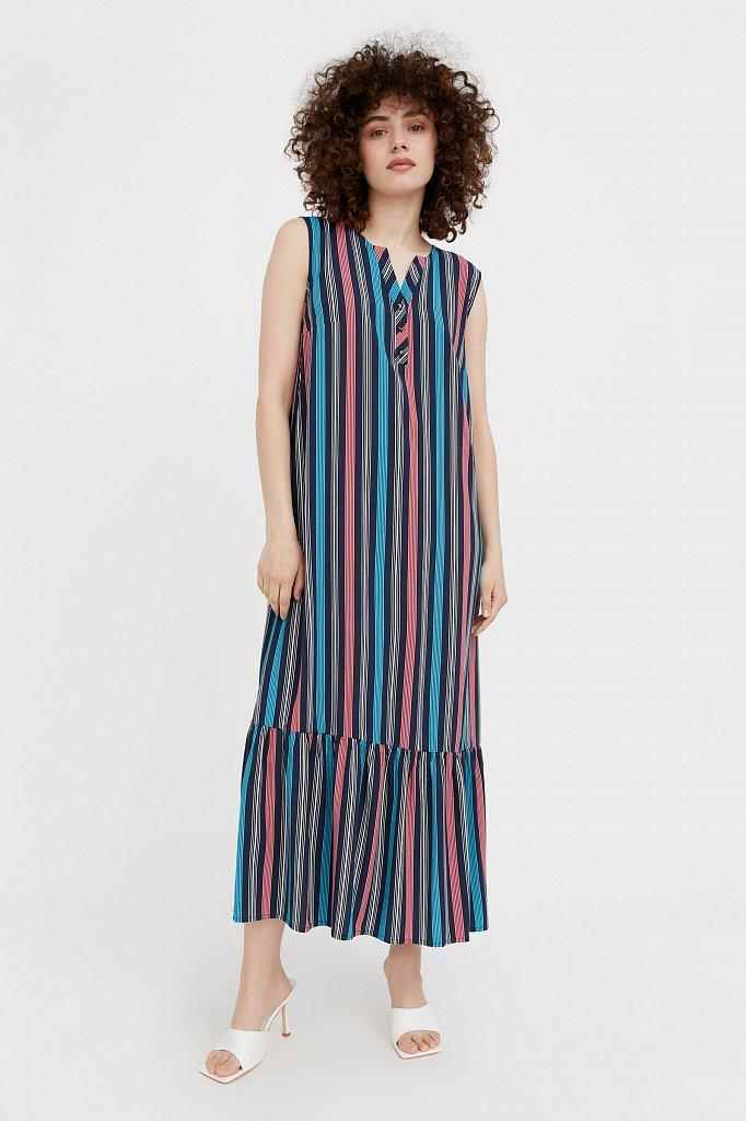 Полосатое платье с воланами, Модель S21-14079, Фото №1