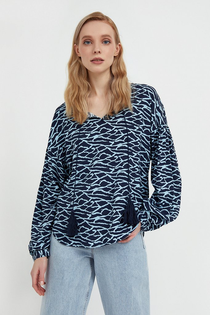 Свободная блуза с завязками-кисточками, Модель S21-14088, Фото №1