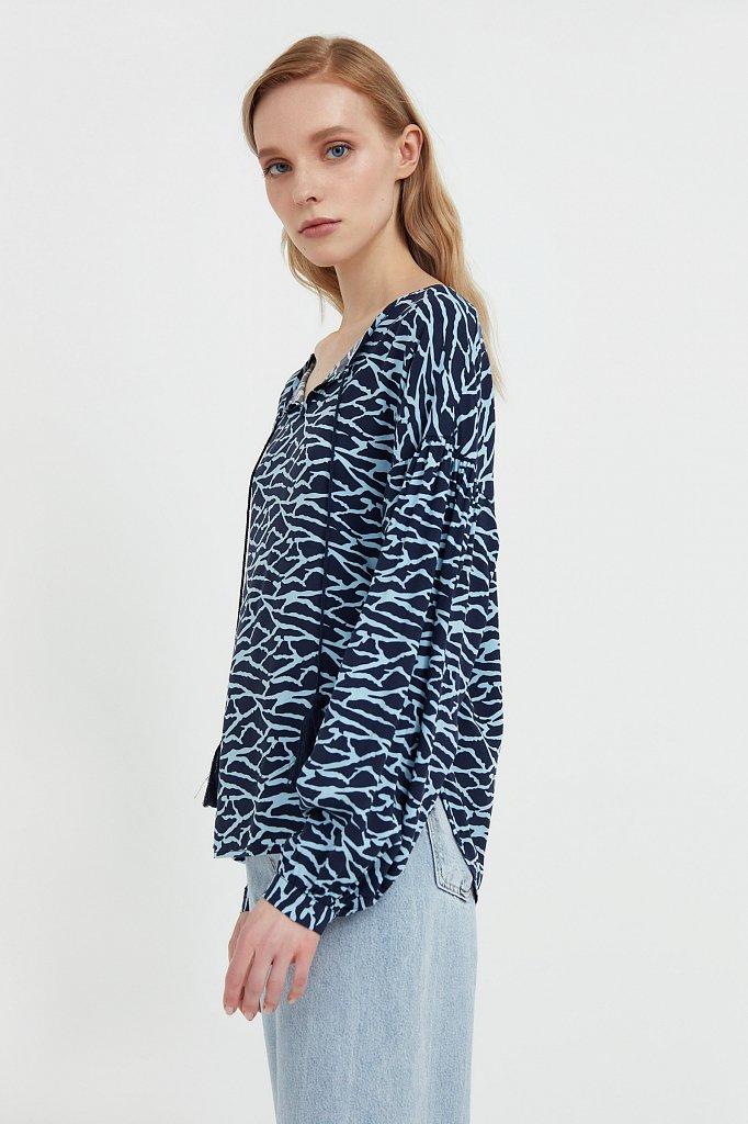 Свободная блуза с завязками-кисточками, Модель S21-14088, Фото №3