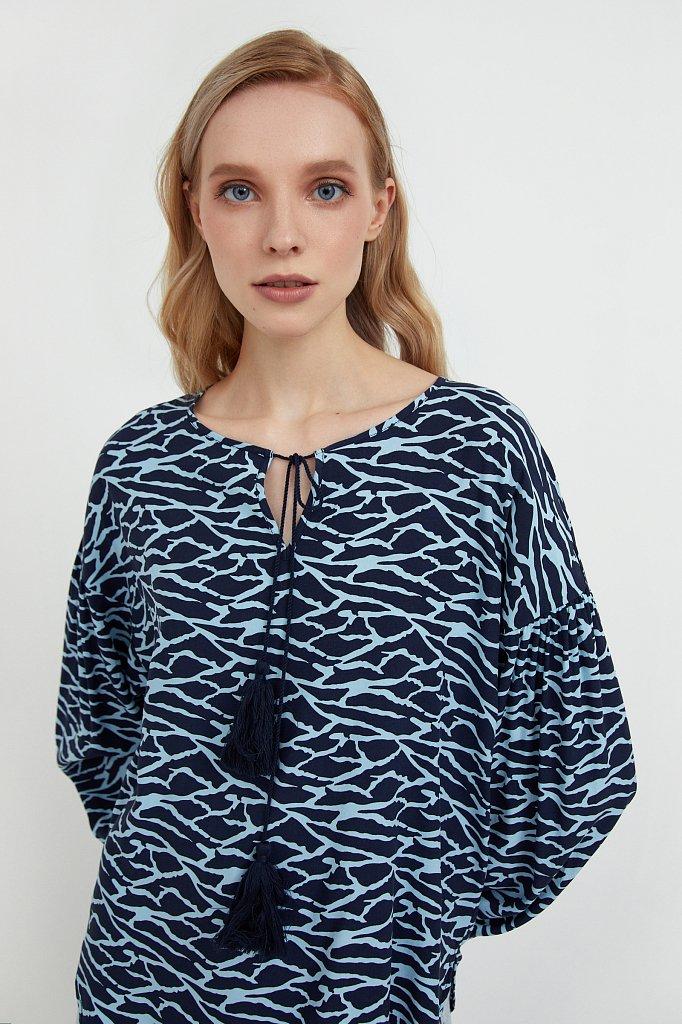 Свободная блуза с завязками-кисточками, Модель S21-14088, Фото №6