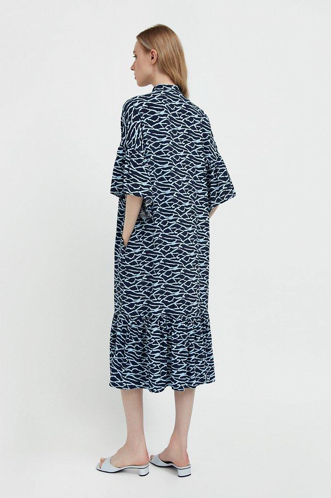 Платье-миди с асимметричными воланами, Модель S21-14090, Фото №4