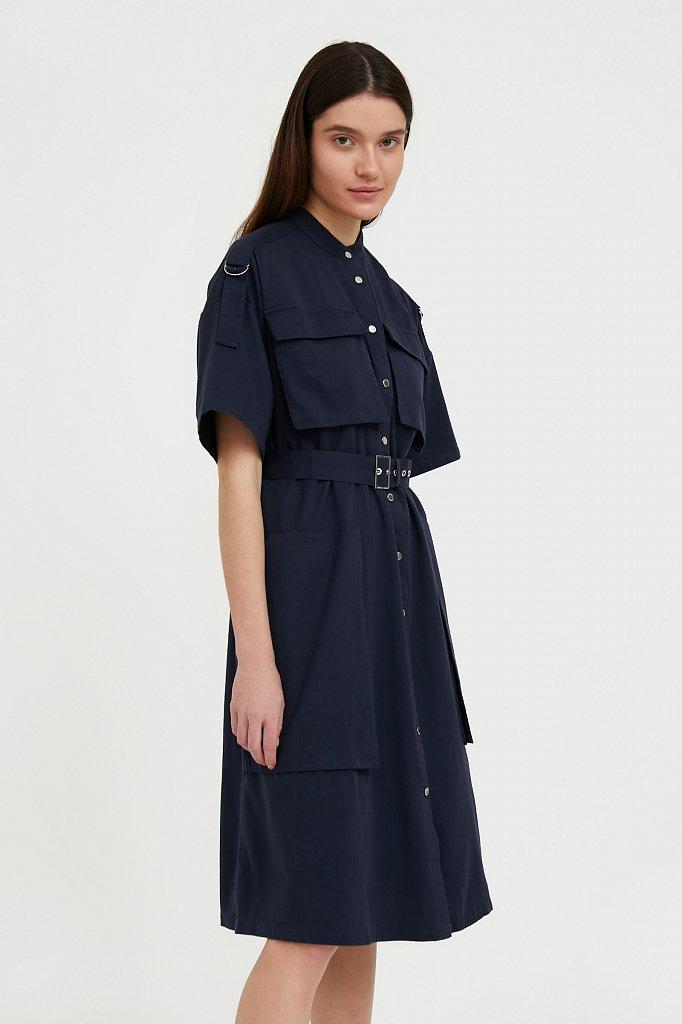 Платье-рубашка из хлопка, Модель S21-32043, Фото №3