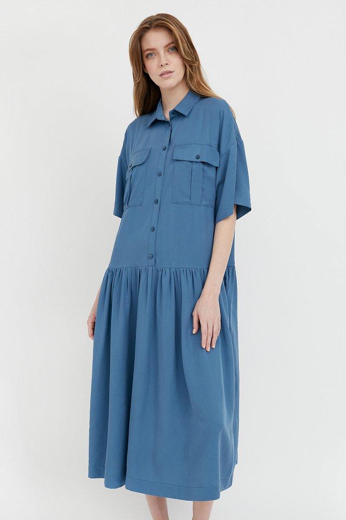 Платье-миди с драпировкой, Модель S21-12054, Фото №1