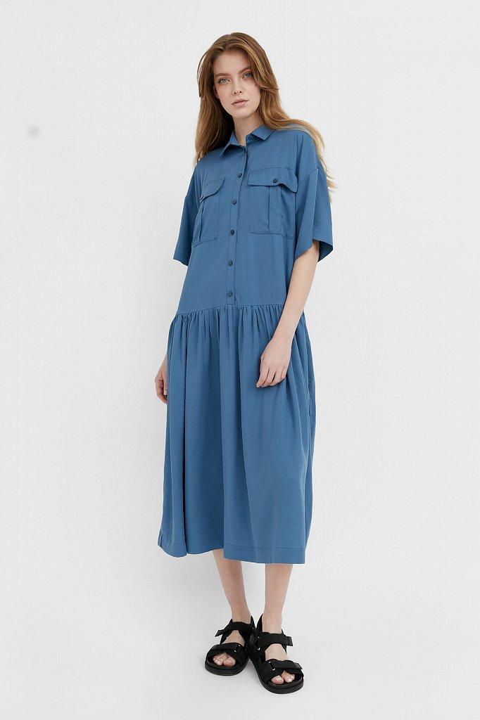 Платье-миди с драпировкой, Модель S21-12054, Фото №2