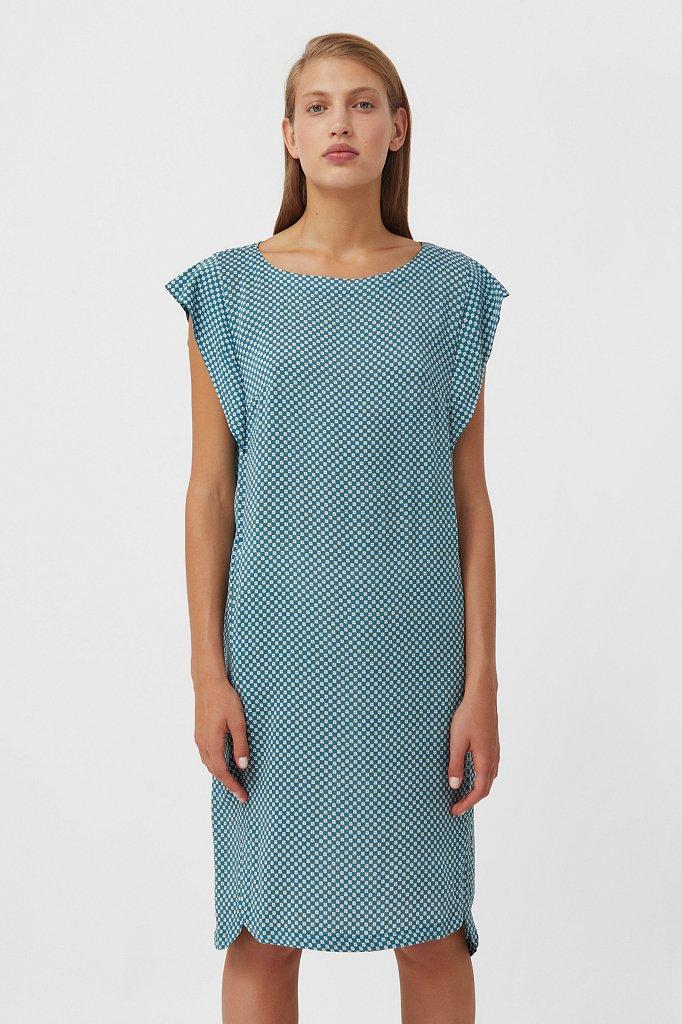 Платье из вискозы с геометричным принтом, Модель S21-14080, Фото №1
