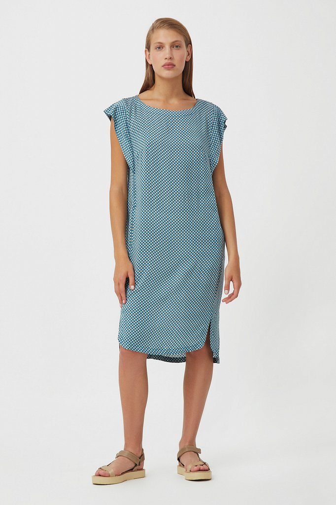 Платье из вискозы с геометричным принтом, Модель S21-14080, Фото №2