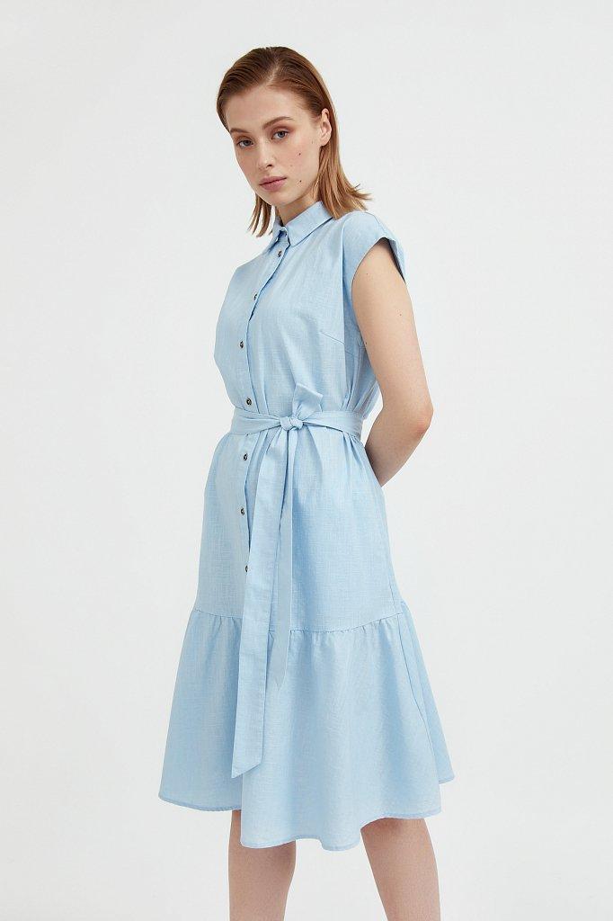 Платье-рубашка из натурального хлопка и льна, Модель S21-14016, Фото №1