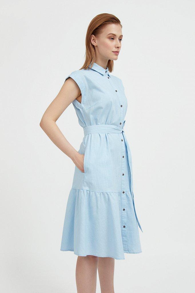 Платье-рубашка из натурального хлопка и льна, Модель S21-14016, Фото №3