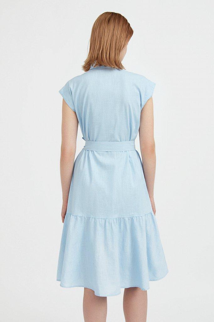 Платье-рубашка из натурального хлопка и льна, Модель S21-14016, Фото №4