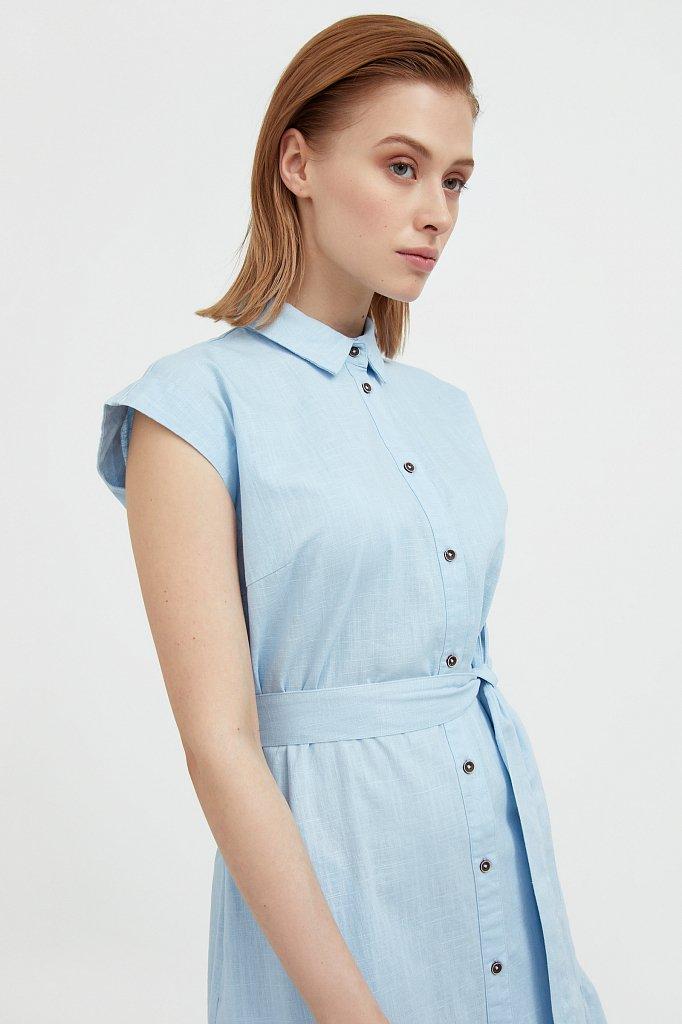 Платье-рубашка из натурального хлопка и льна, Модель S21-14016, Фото №6