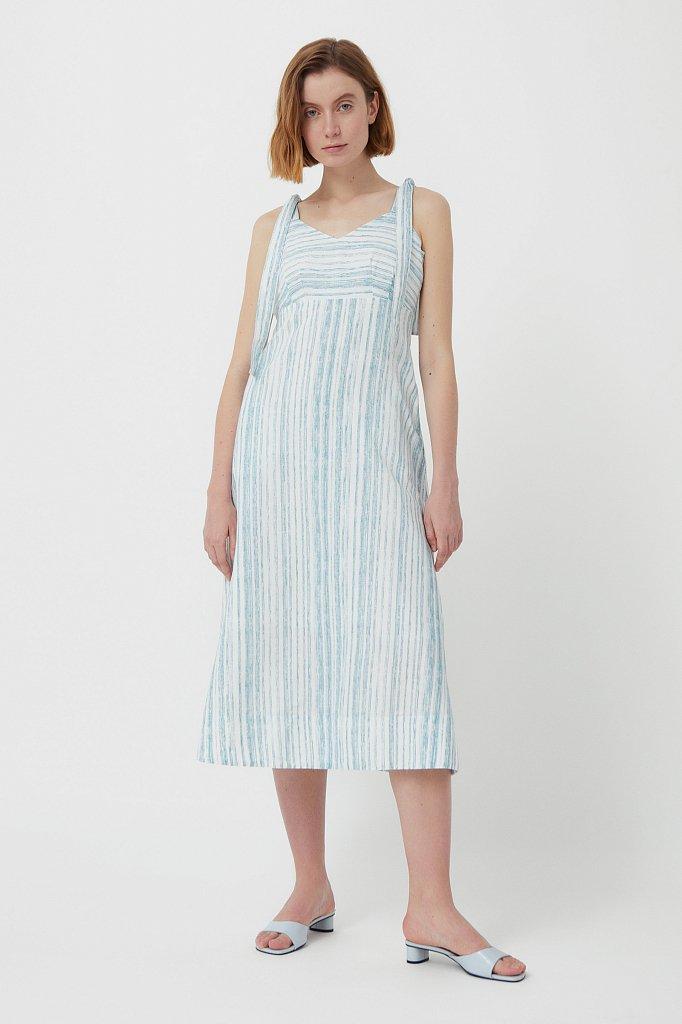 Полосатое платье из льна и хлопка, Модель S21-14034, Фото №3