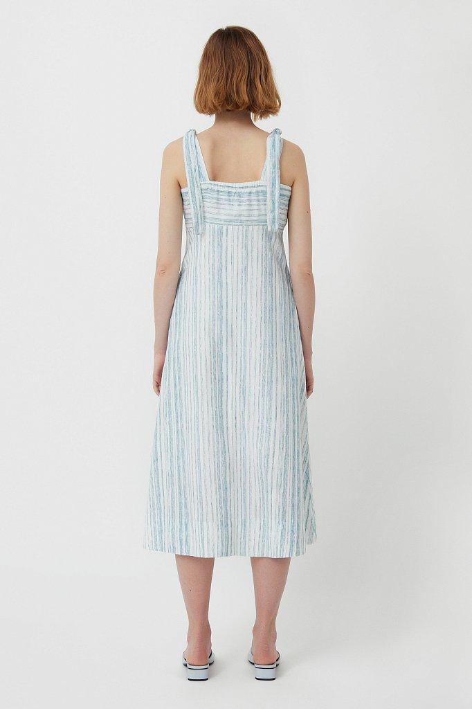 Полосатое платье из льна и хлопка, Модель S21-14034, Фото №4