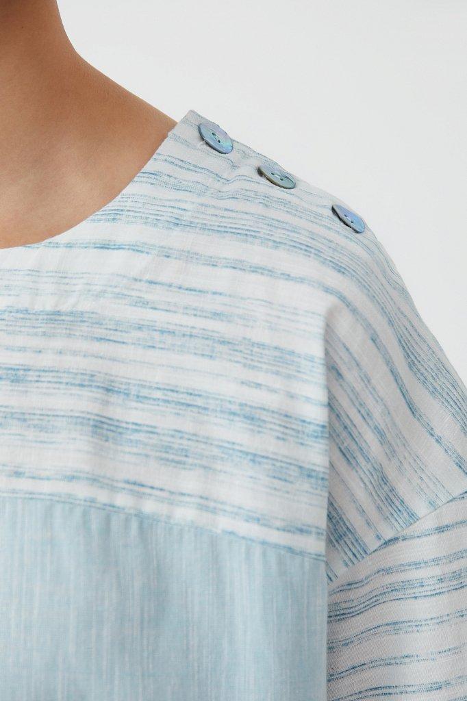 Свободная блузка с полосатым принтом, Модель S21-14037, Фото №5