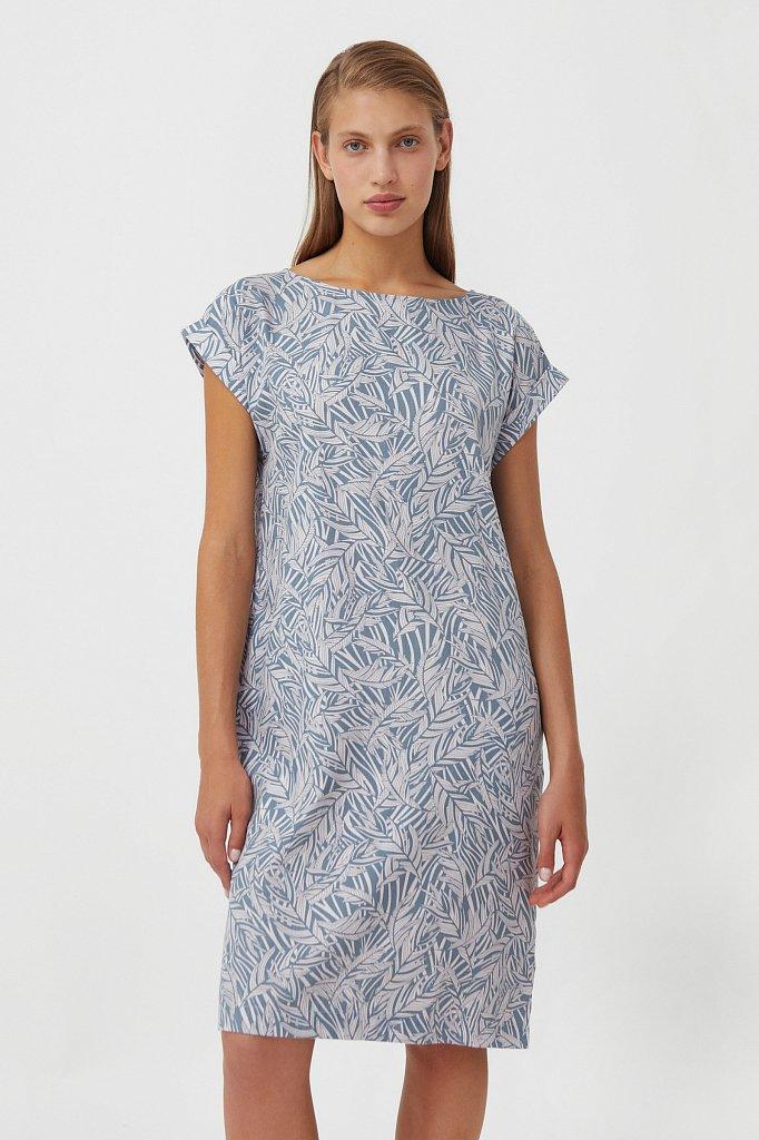 Прямое платье с растительным узором, Модель S21-14086, Фото №1